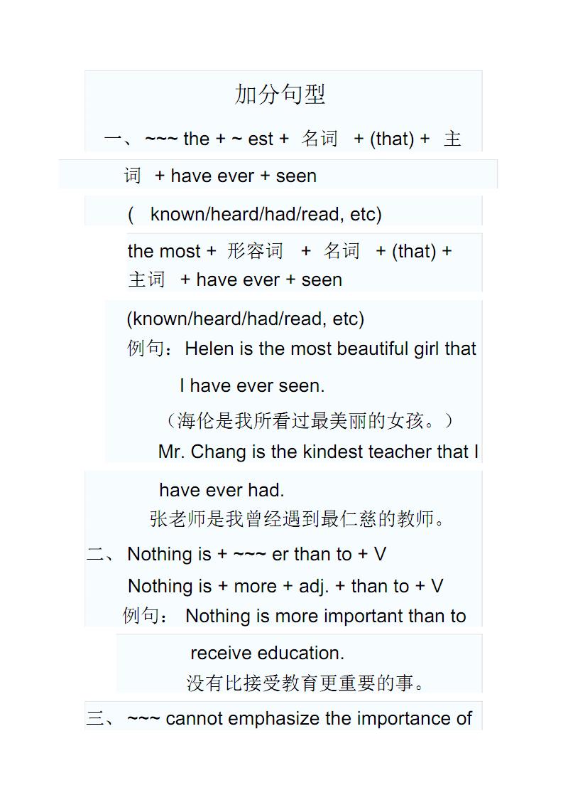 英语四级作文加分句型.pdf