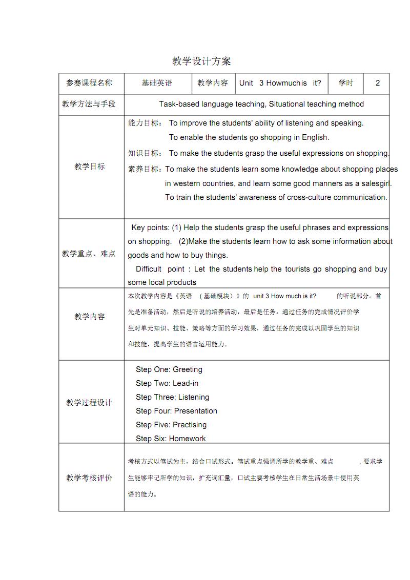 中职英语购物教学设计.pdf