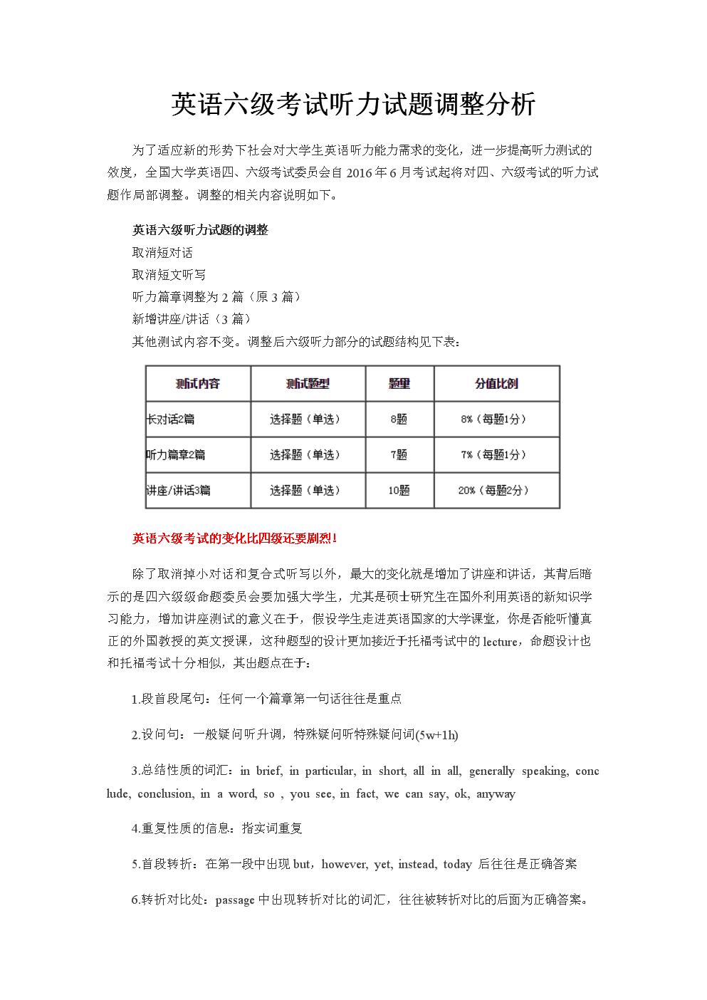 英语六级考试听力试题调整分析 - 副本.docx