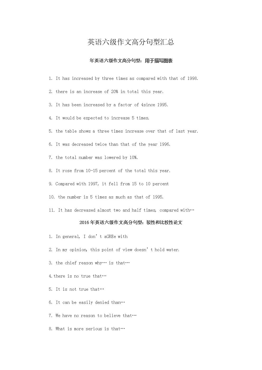 英语六级作文高分句型汇总.docx