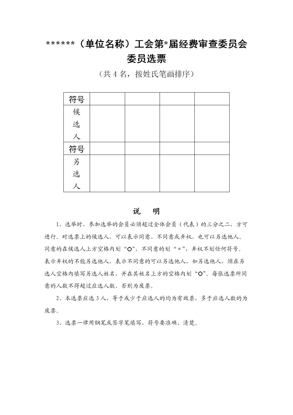 工会经费审查委员会委员选票格式.doc