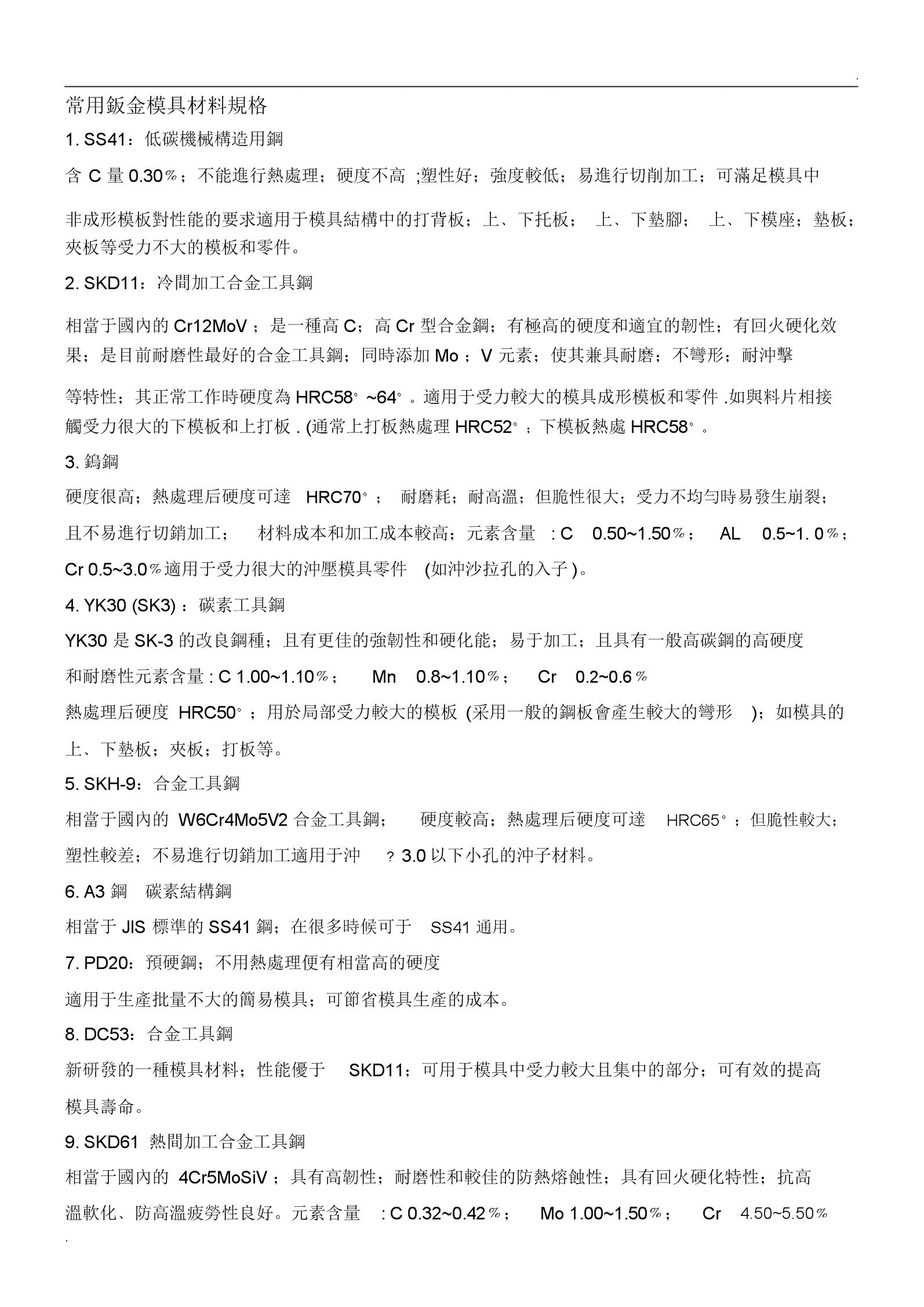 钣金模具材料规格.docx