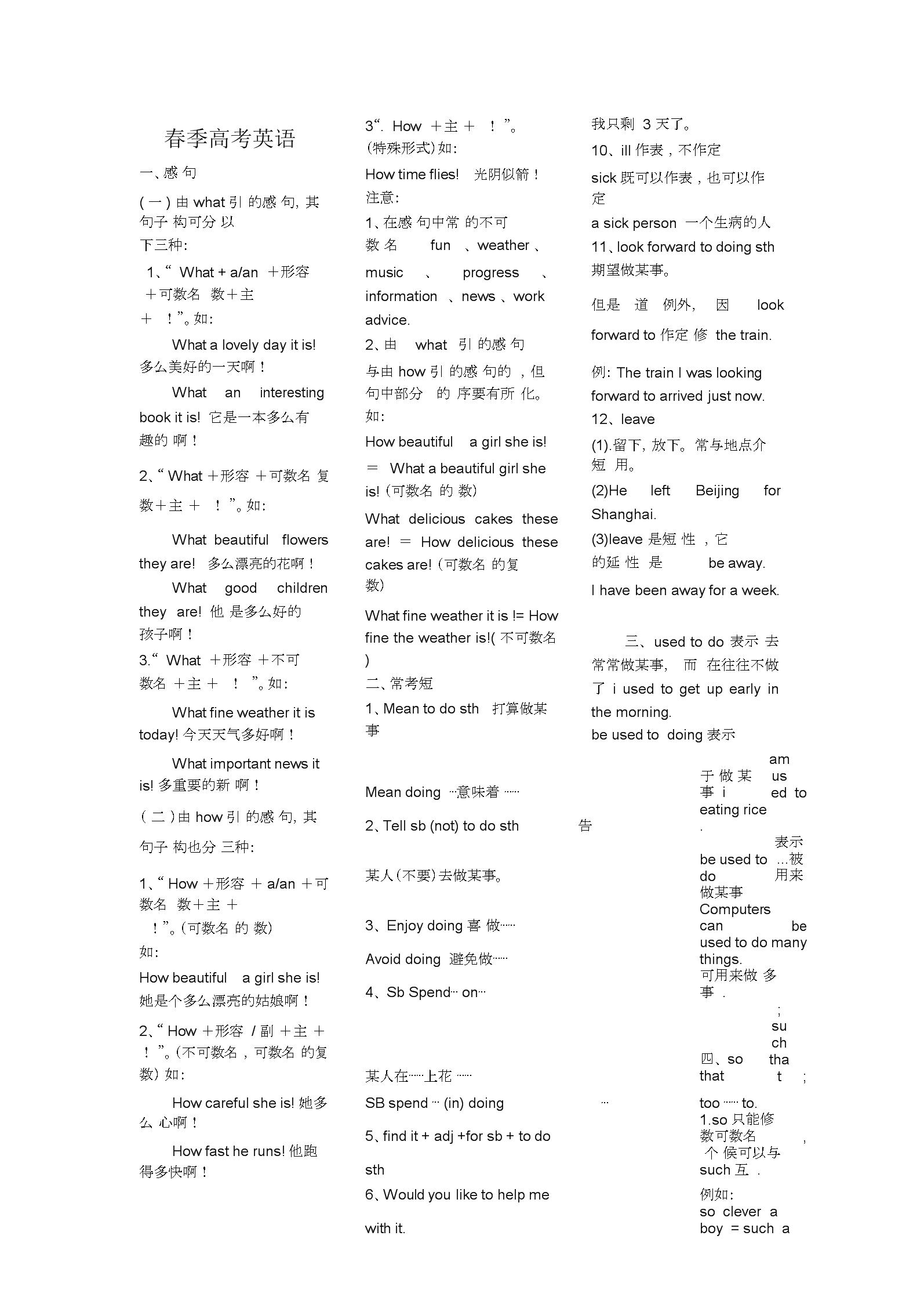 (完整word)山东春季高考英语精华总结,推荐文档.docx