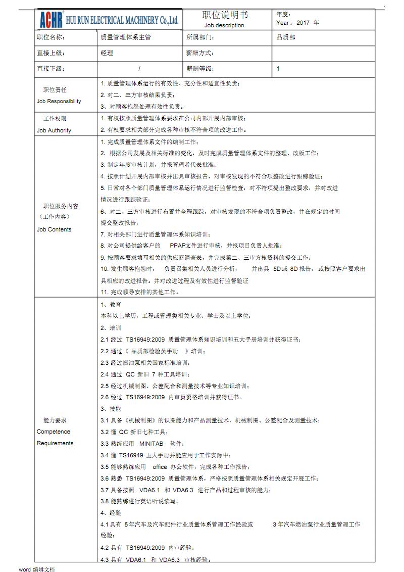 质量体系主管岗位说明书样本.pdf