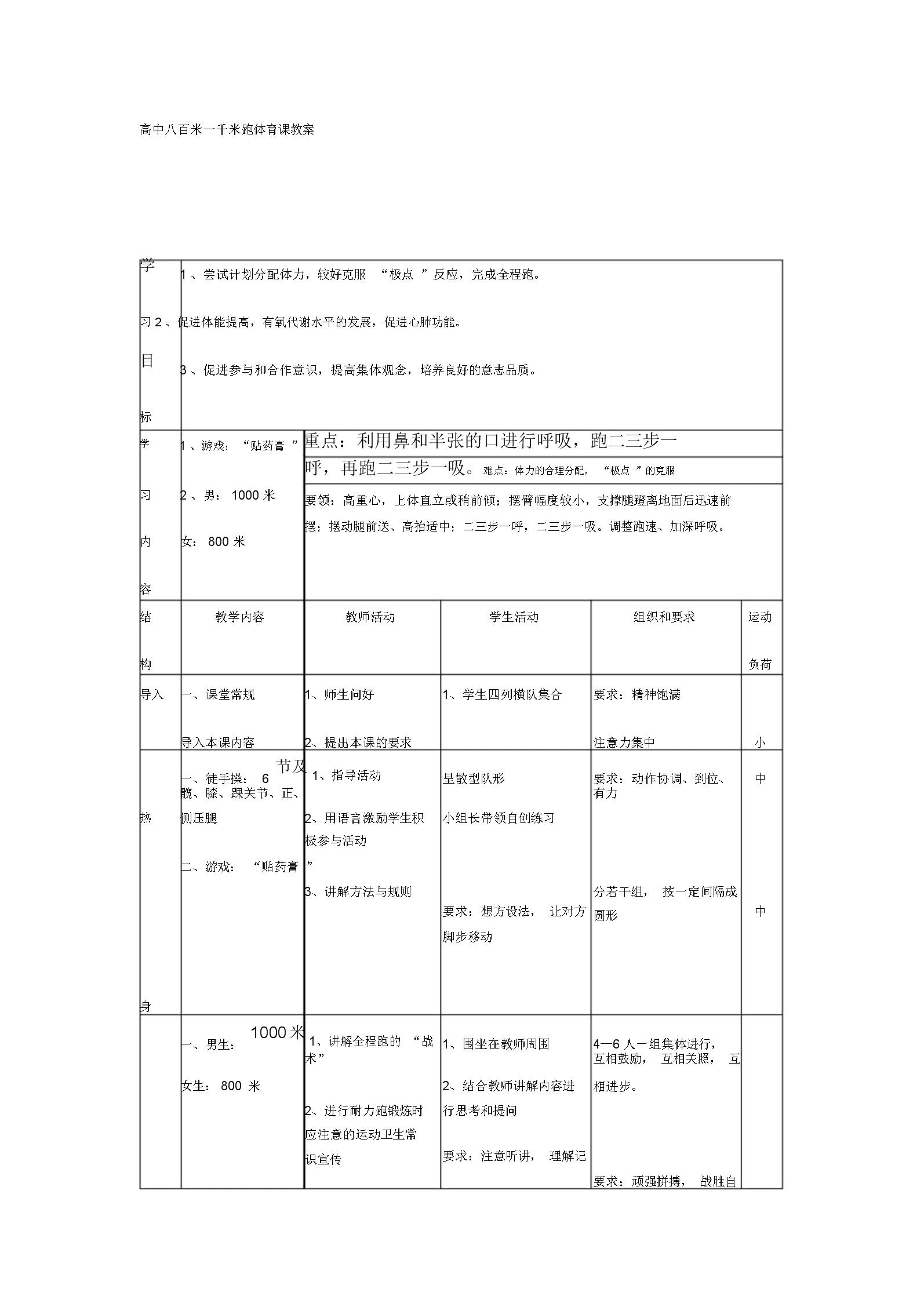 (完整word版)高中八百米一千米跑体育课教案.docx