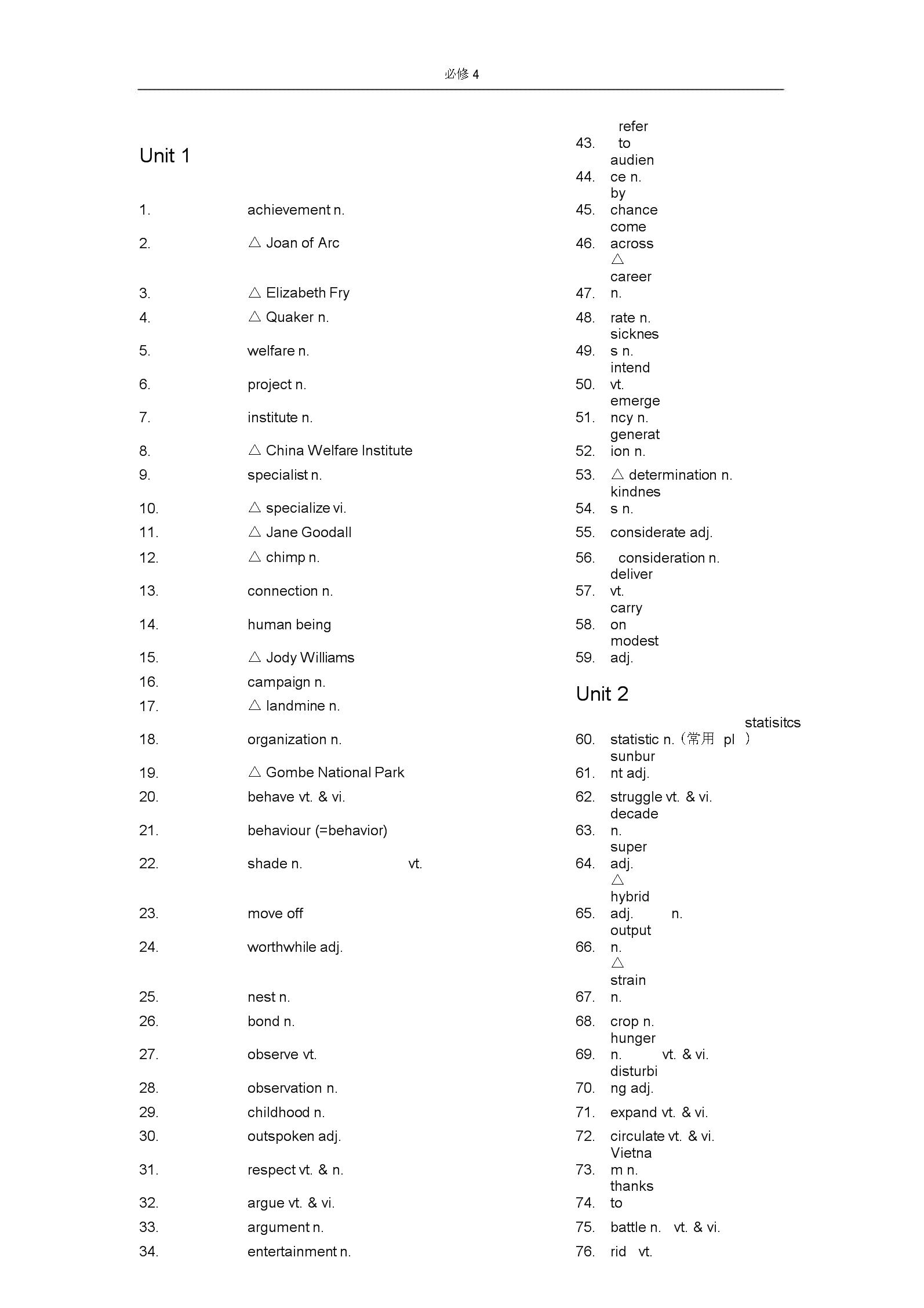 (完整word版)人教版高中英语必修4词汇表--英汉分开.docx