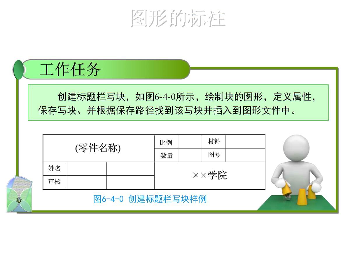 工程制图及CAD 任务三:块的使用 案例2创建写块.ppt