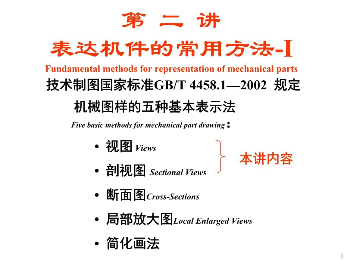 机械设计基础A课件:第 二 讲 表达机件的常用方法-I.ppt