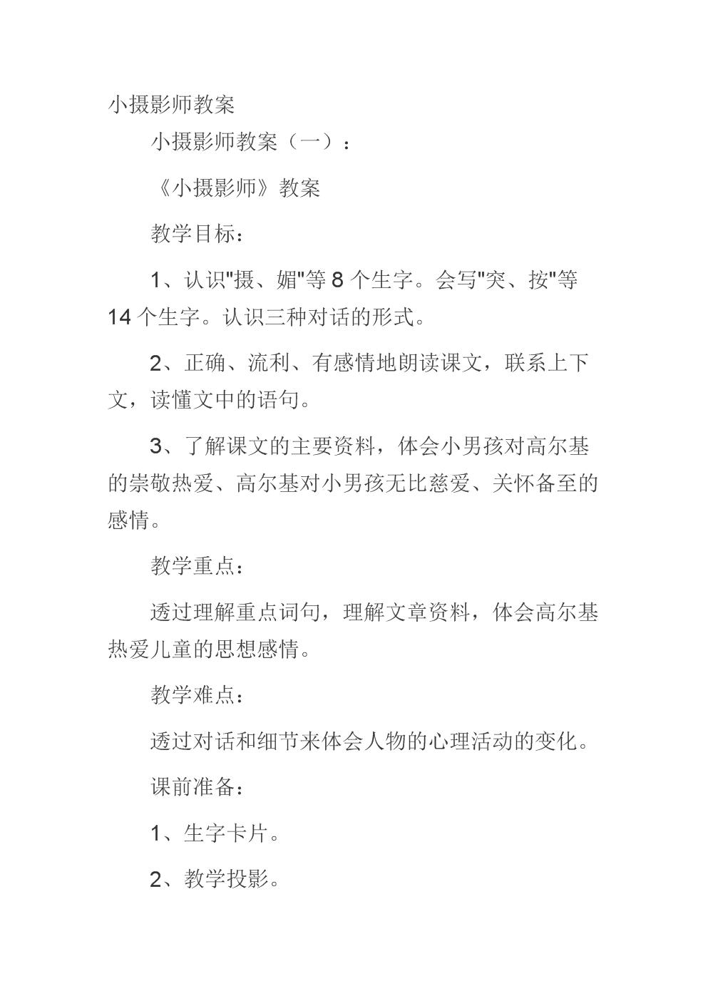 (精选范文)小摄影师教案.docx
