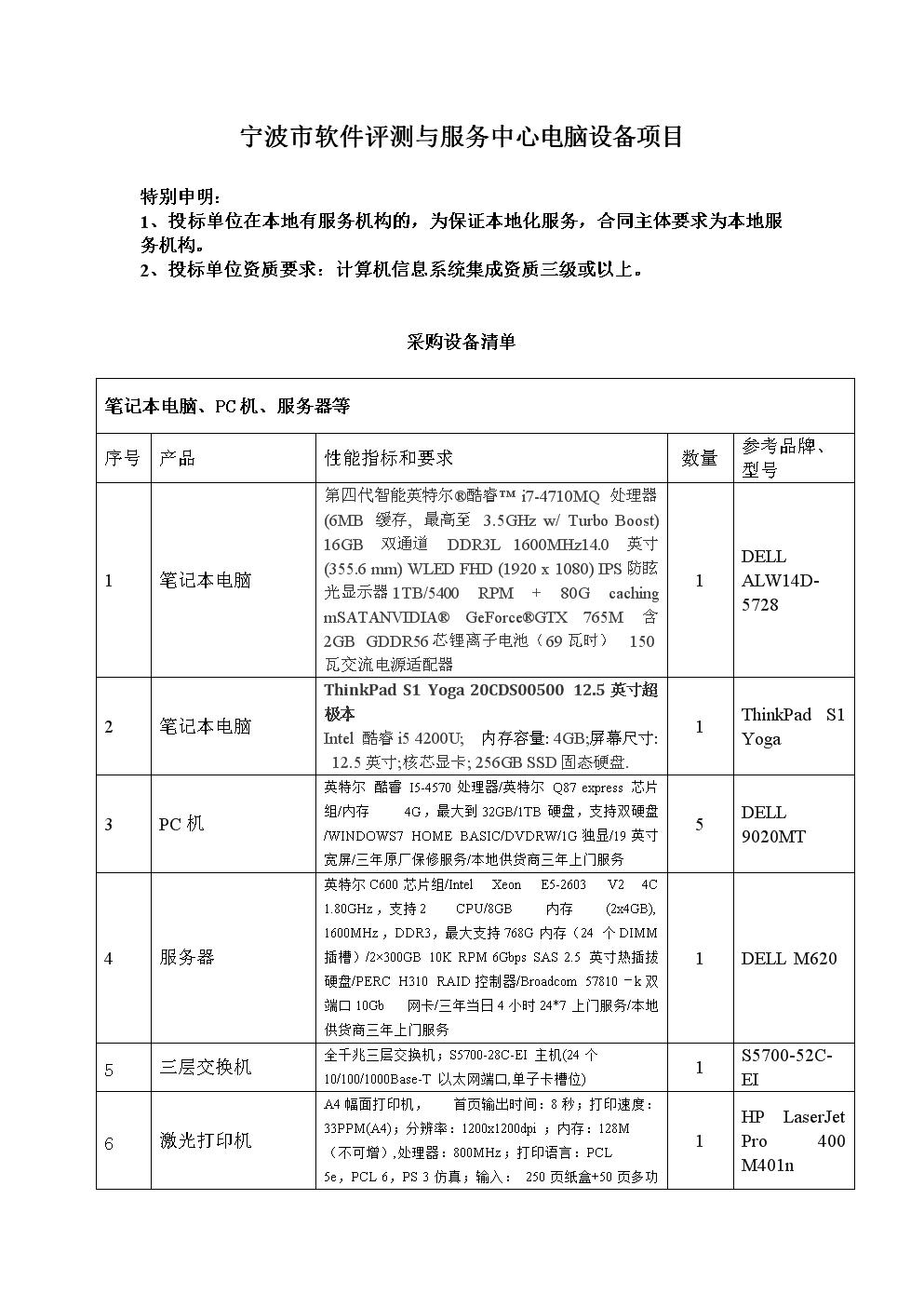 宁波市软件评测与服务中心电脑设备项目.doc