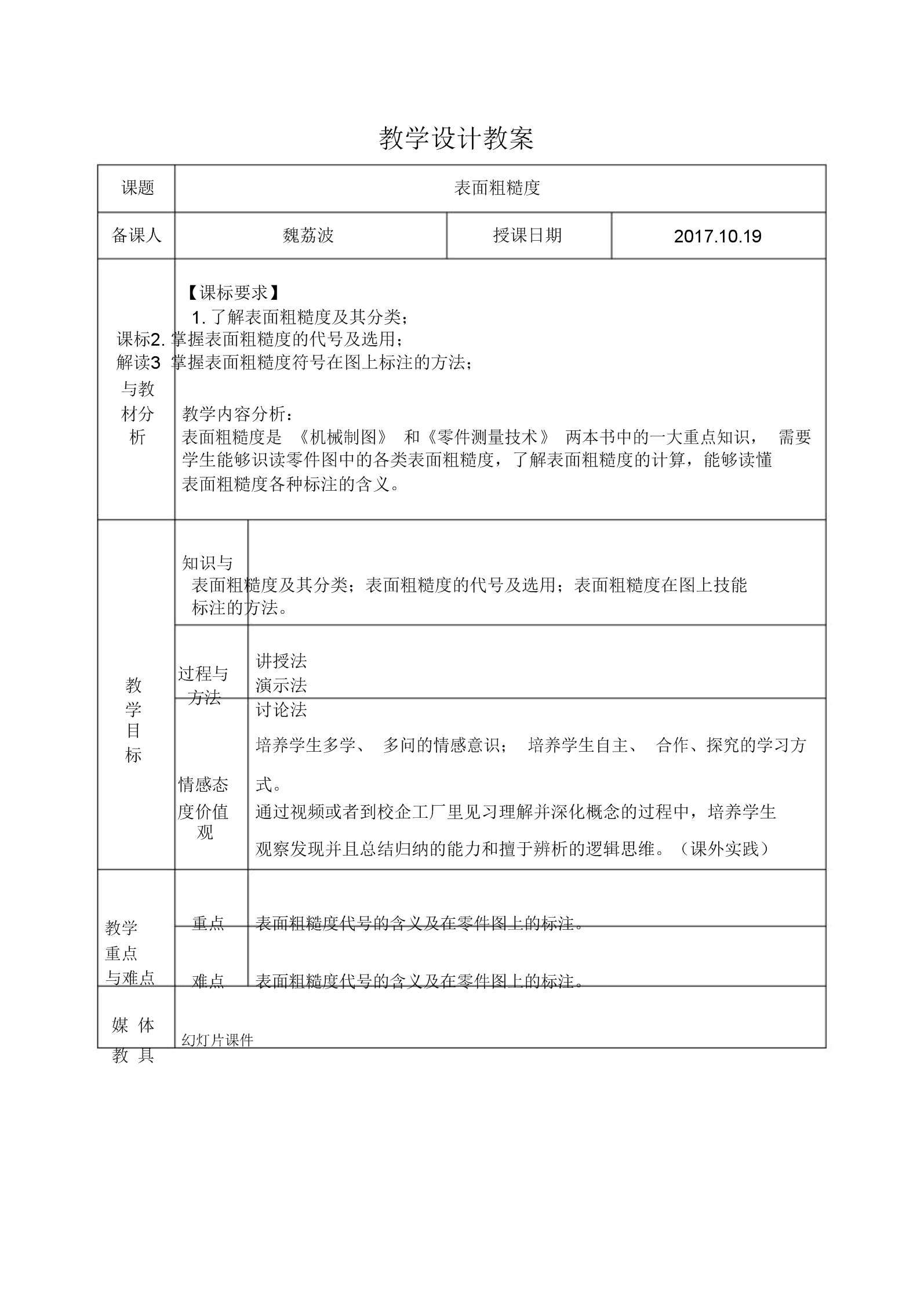 (完整word版)《机械制图》表面粗糙度教案_综合理工实习生.doc
