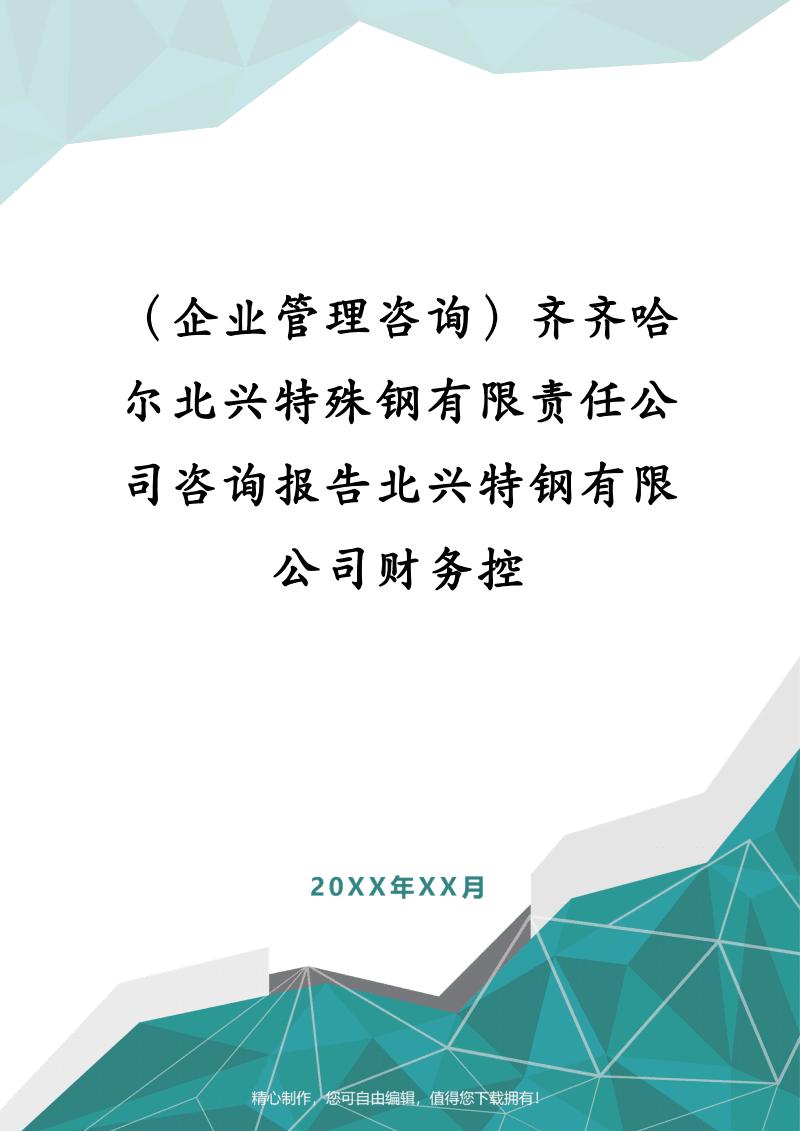 (企业管理咨询)齐齐哈尔北兴特殊钢有限责任公司咨询报告北兴特钢有限公司财务控.pdf