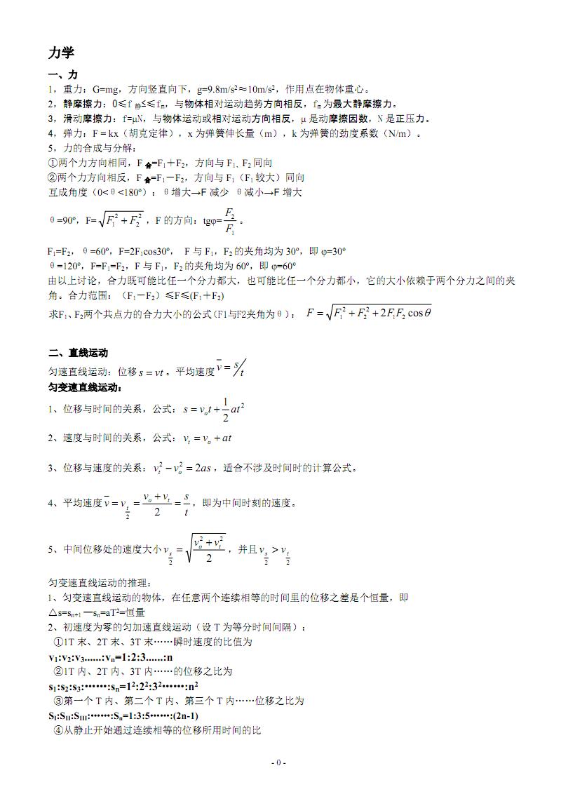 高中物理公式大全35874.pdf