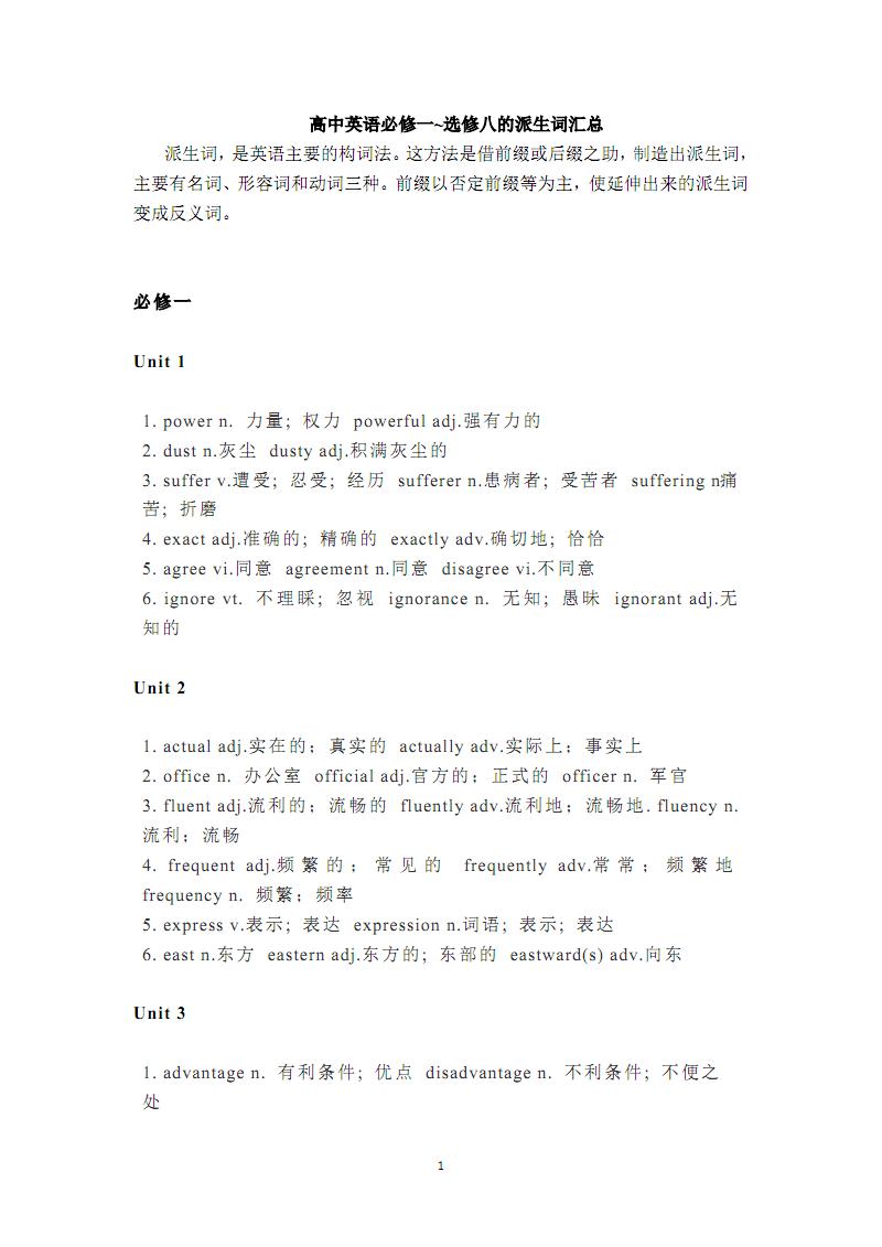 高中英语必修一选修八的派生词汇总.pdf