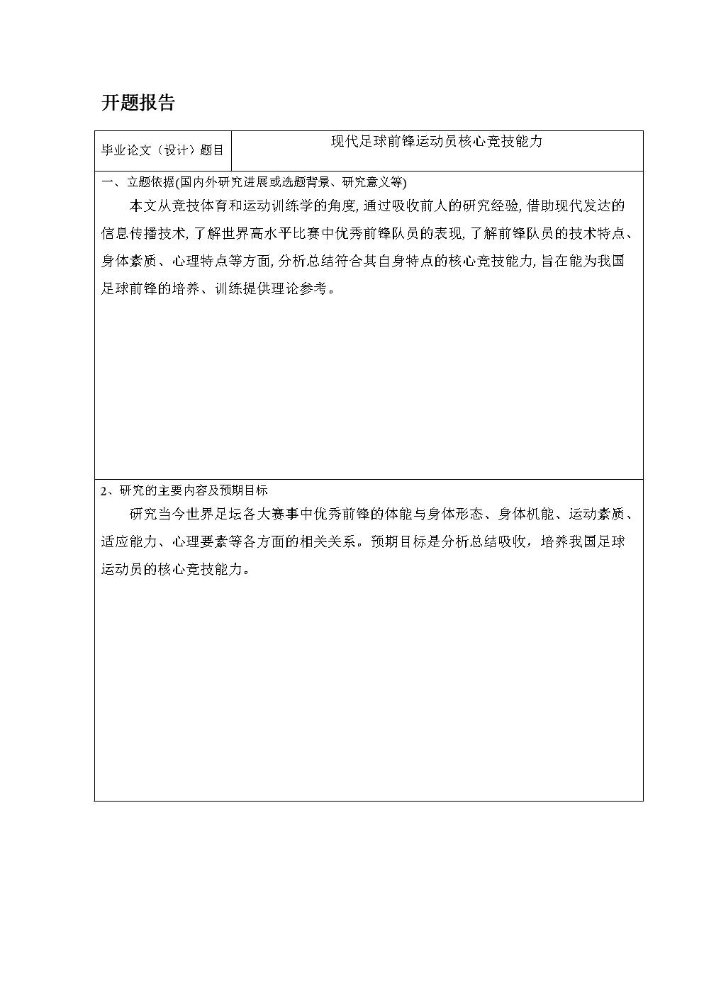 开题报告现代足球前锋运动员核心竞技能力.doc