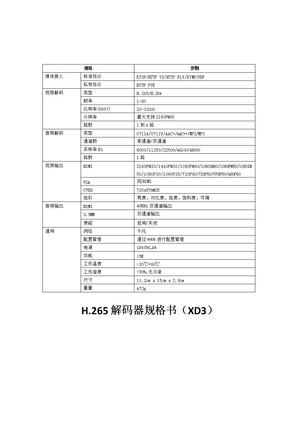 H.265 解码器规格书(XD3).docx