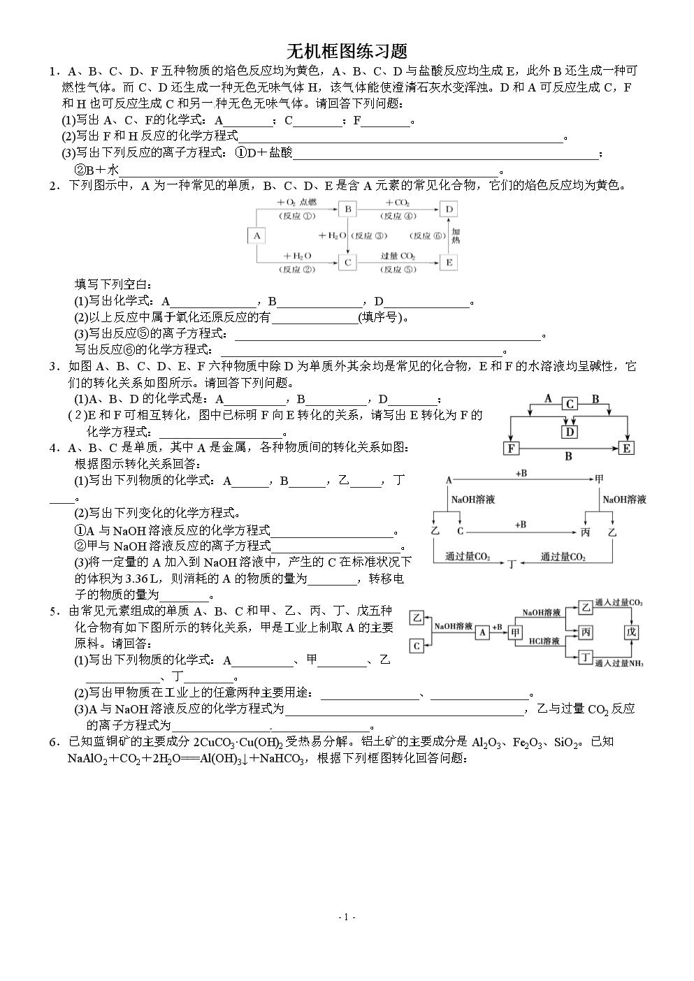 高一化学 无机框图练习题.doc