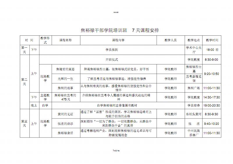 焦裕禄干部学院培训班7天课程安排.pdf