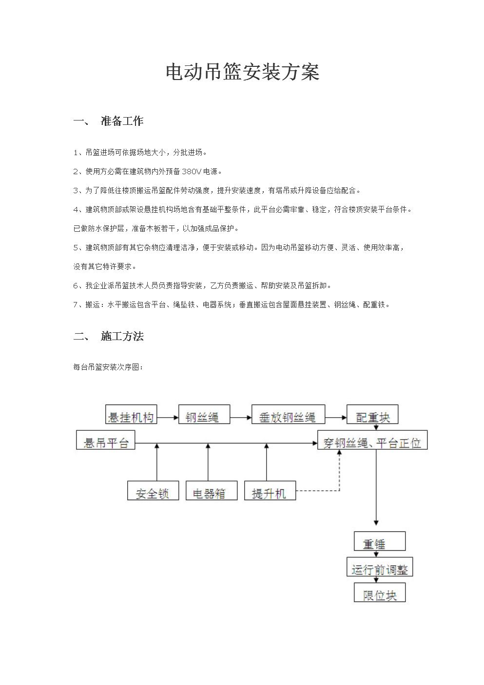 电动吊篮安装专项方案.doc