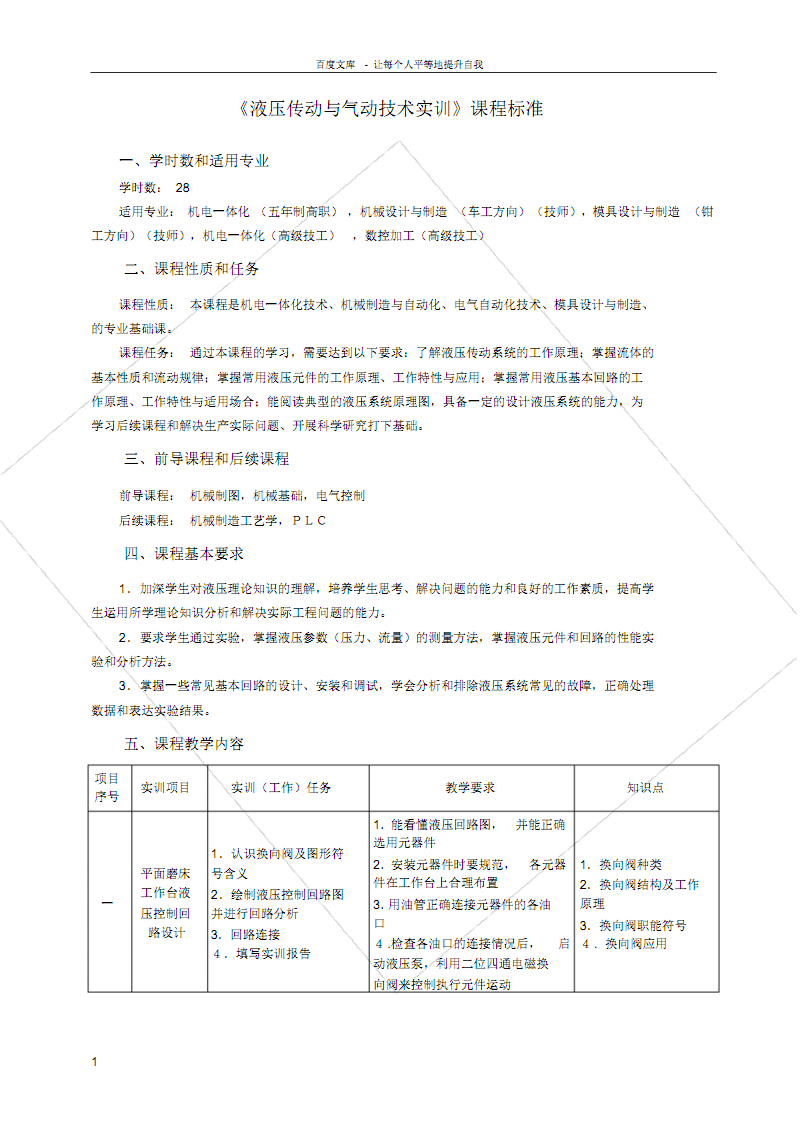 液压传动与气动技术实训课程标准.pdf