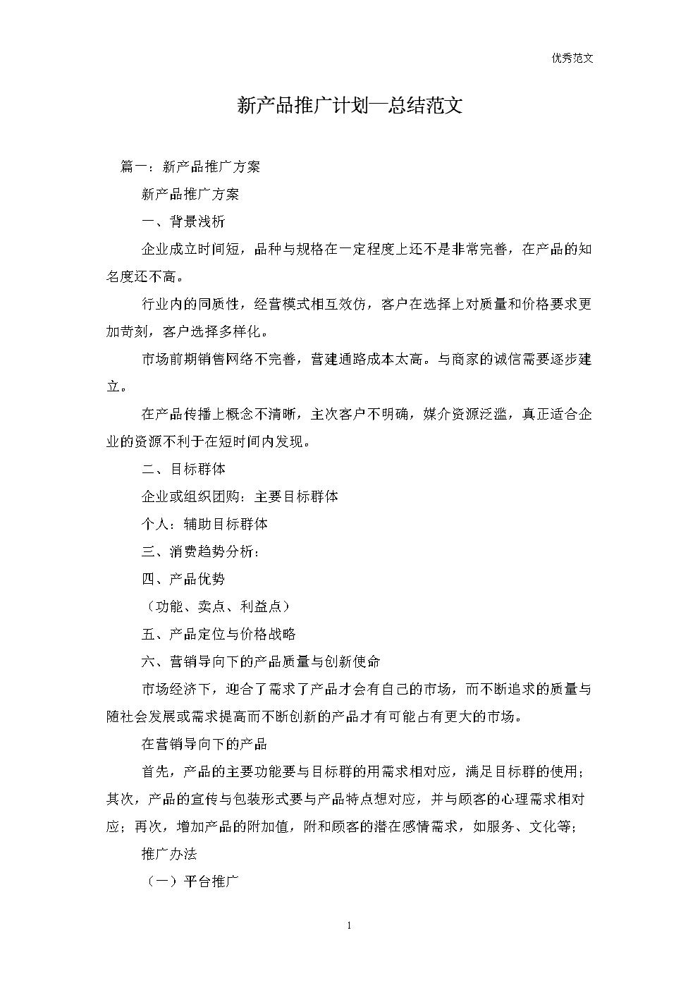 新产品推广计划—总结范文.doc