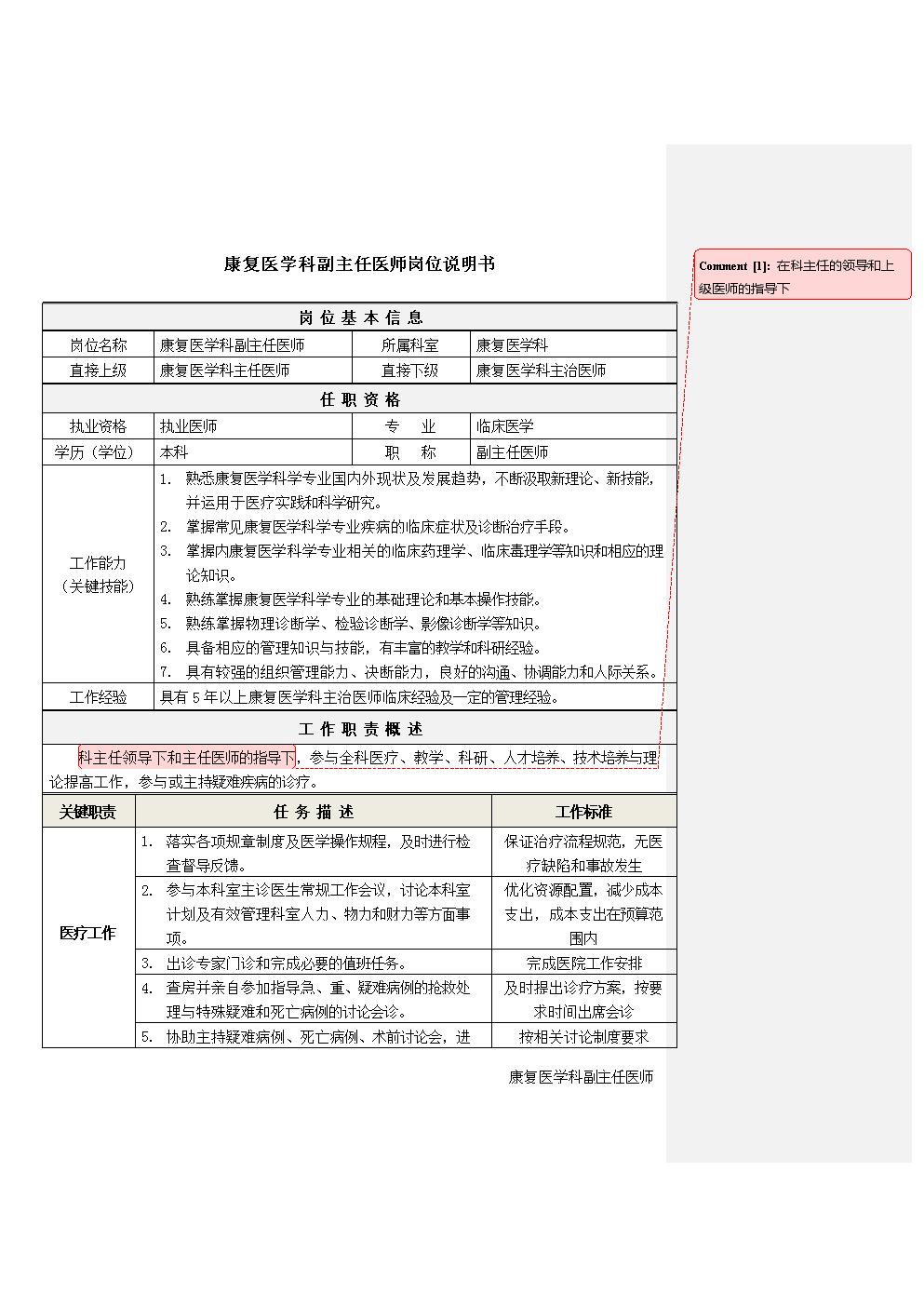 3康复医学科副主任医师岗位说明书.docx