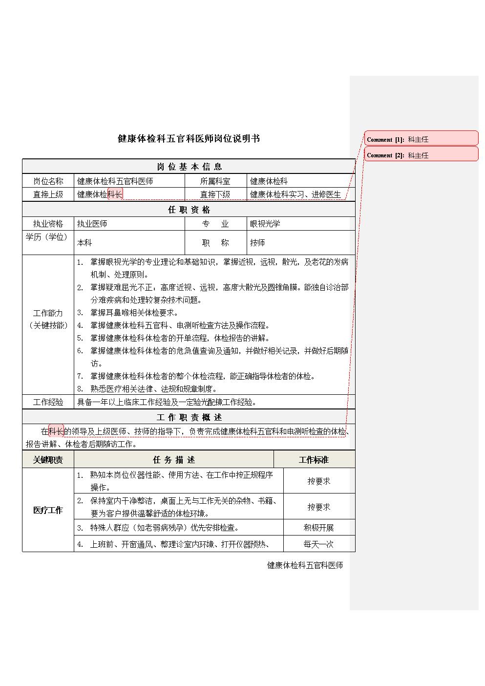9健康体检科五官科医师岗位说明书.docx