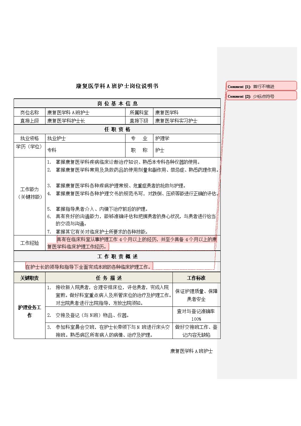 4康复医学科A班护士岗位说明书.docx
