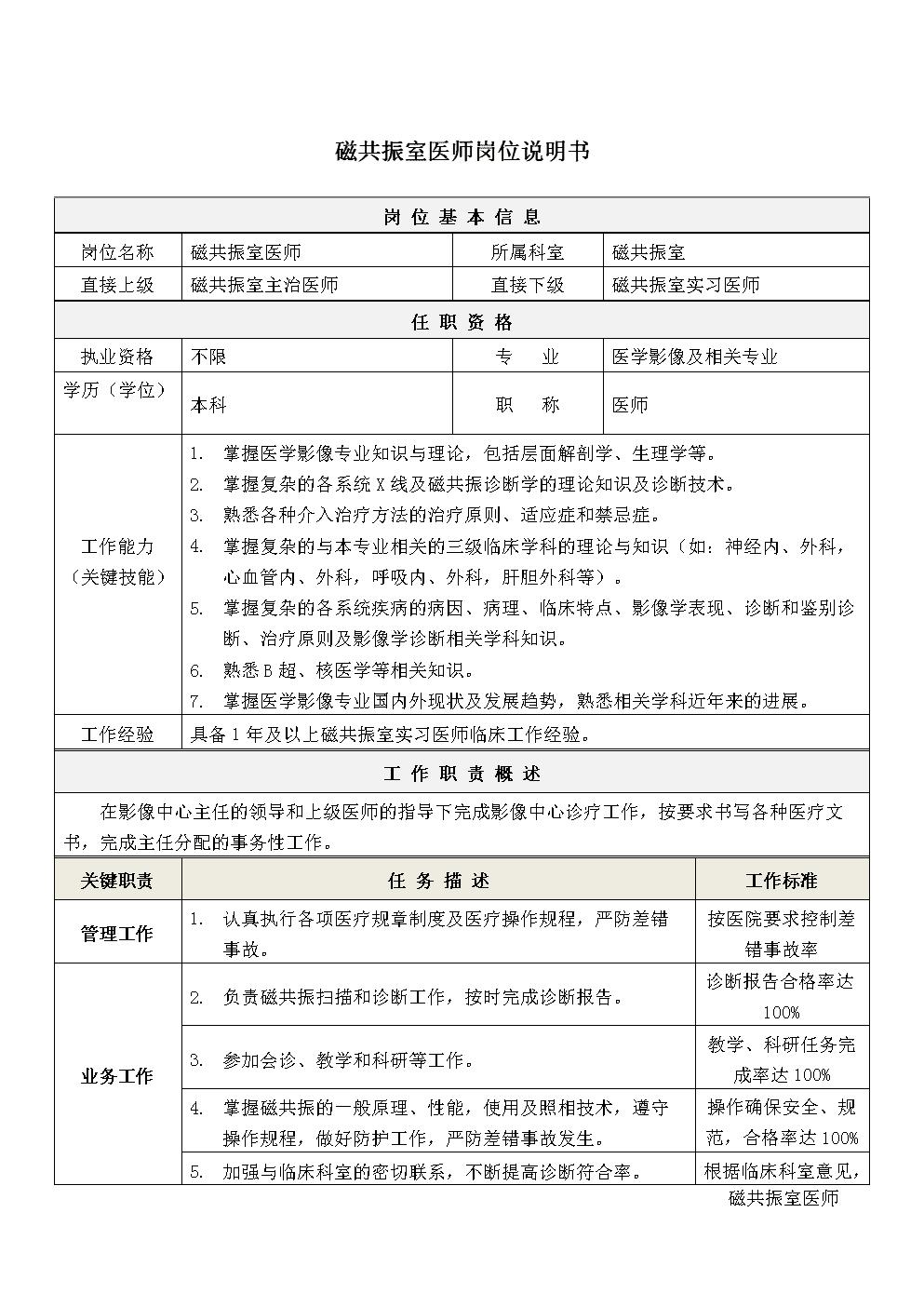5磁共振室医师岗位说明书.docx
