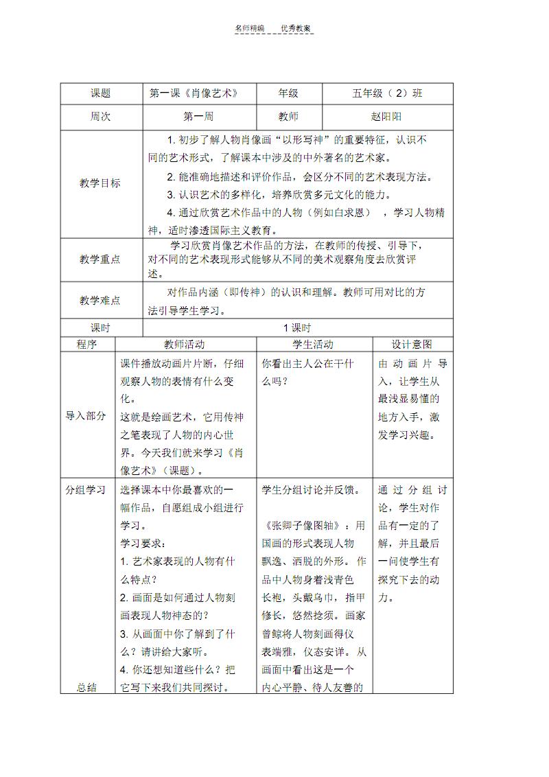人民美术五年级美术教案集培训讲学.pdf