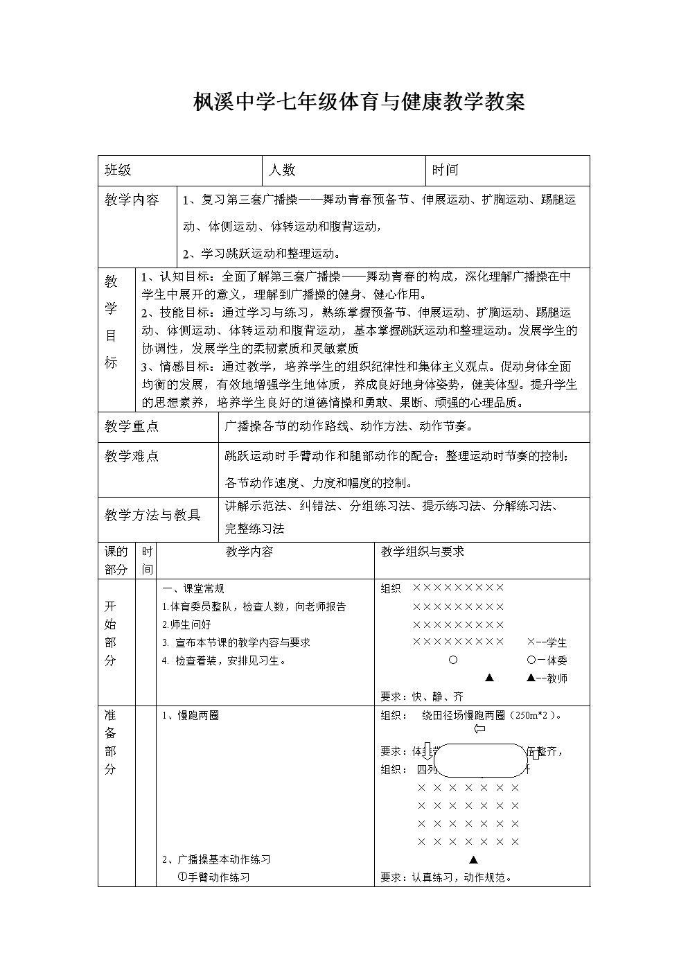 11第三套广播操舞动青春教案九.doc