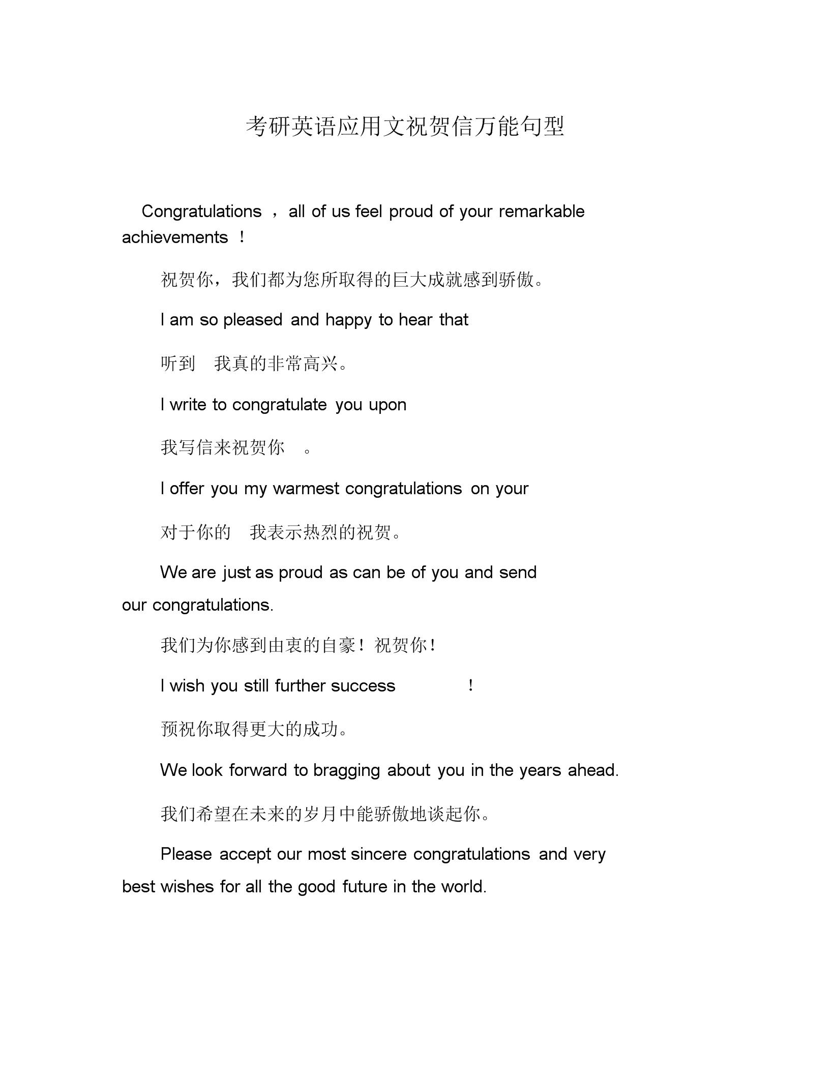 考研英语应用文祝贺信万能句型.doc