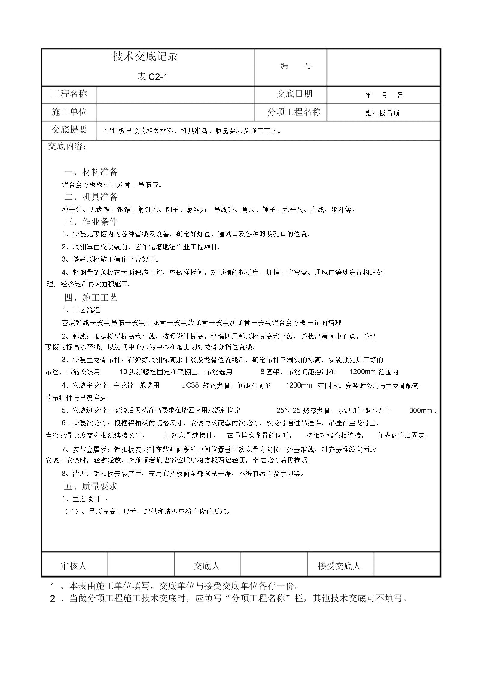 铝扣板吊顶技术交底学习记录.docx