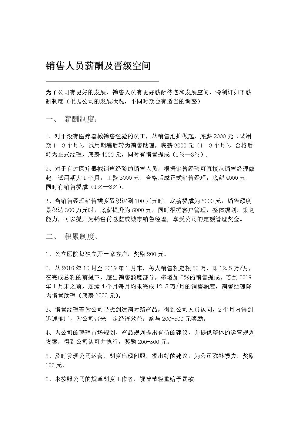 销售人员薪酬及晋级空间.doc