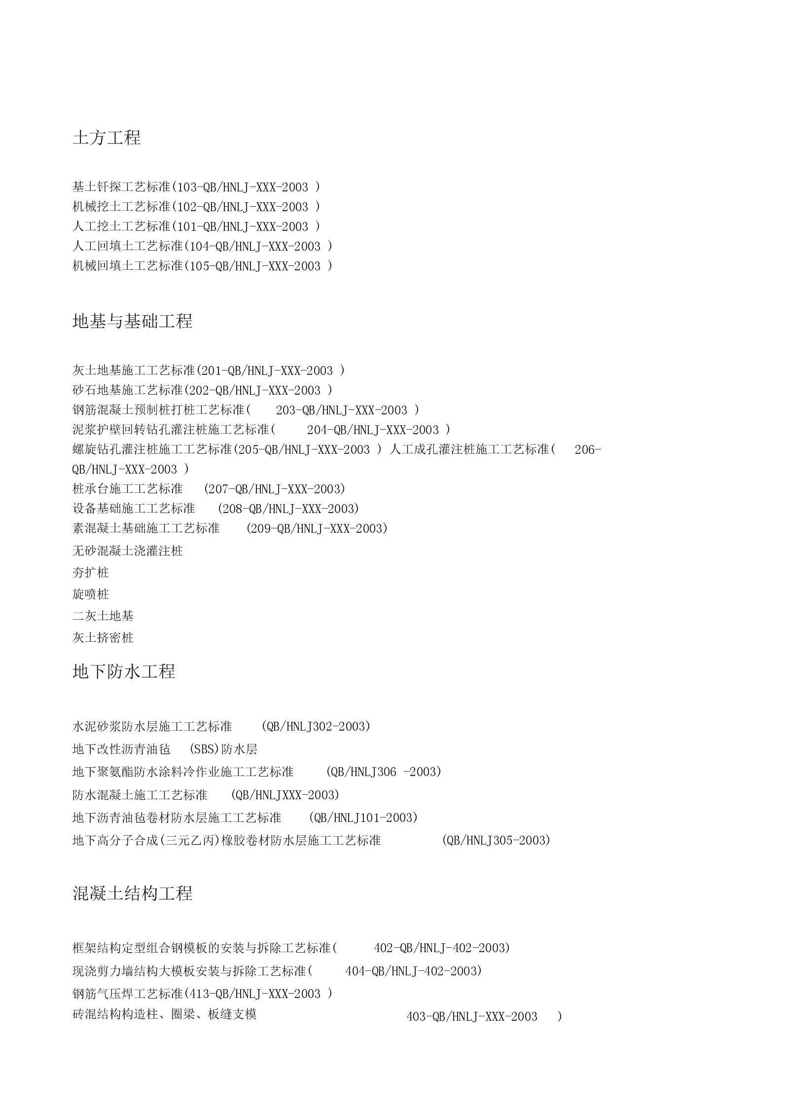 施工工艺标准总目录.docx