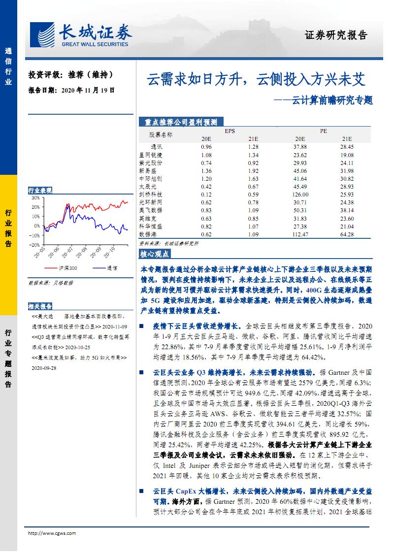 通信行业云计算投资策略和分析报告:如日方升,云侧投入.pdf