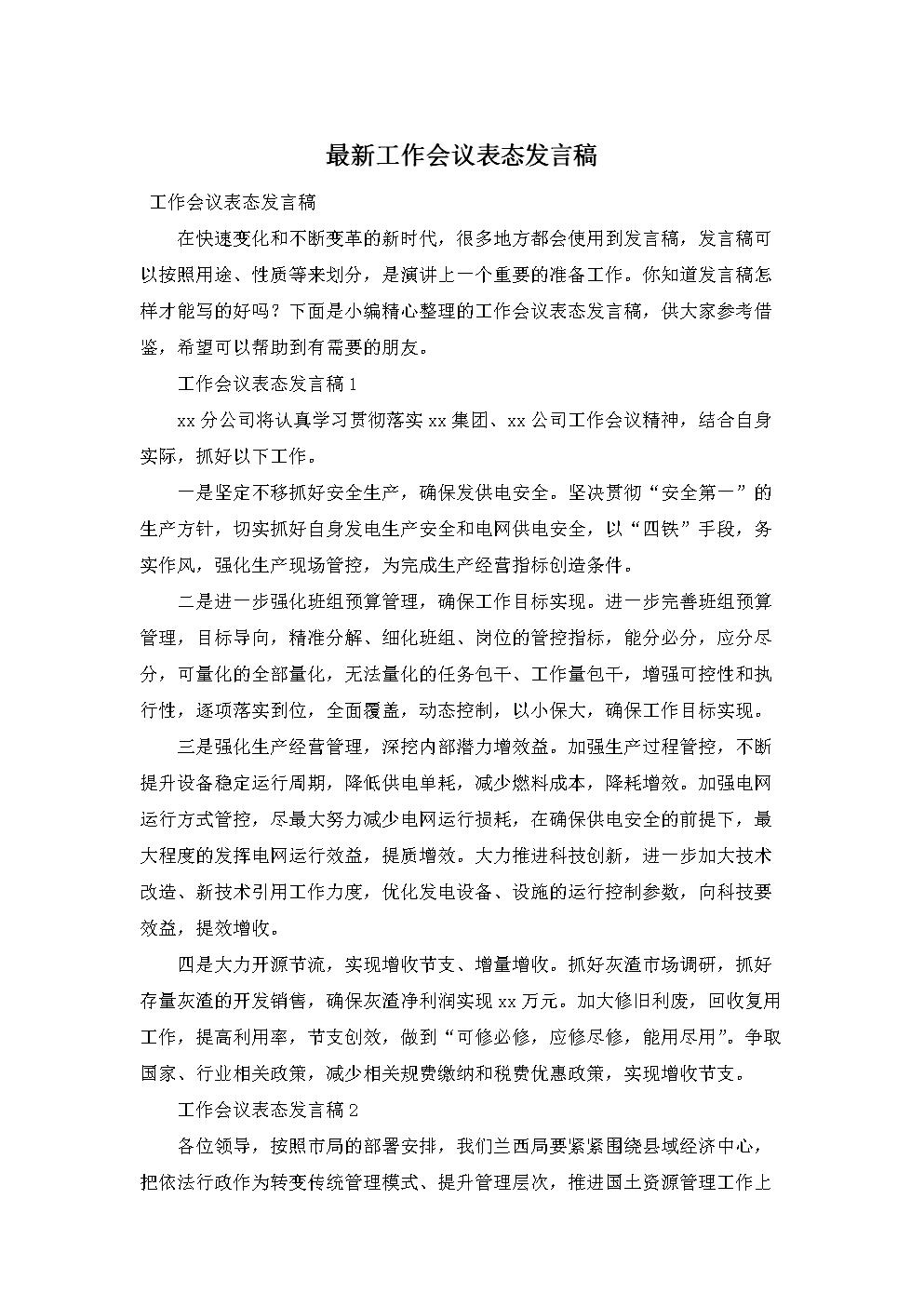 最新工作会议表态发言稿.doc