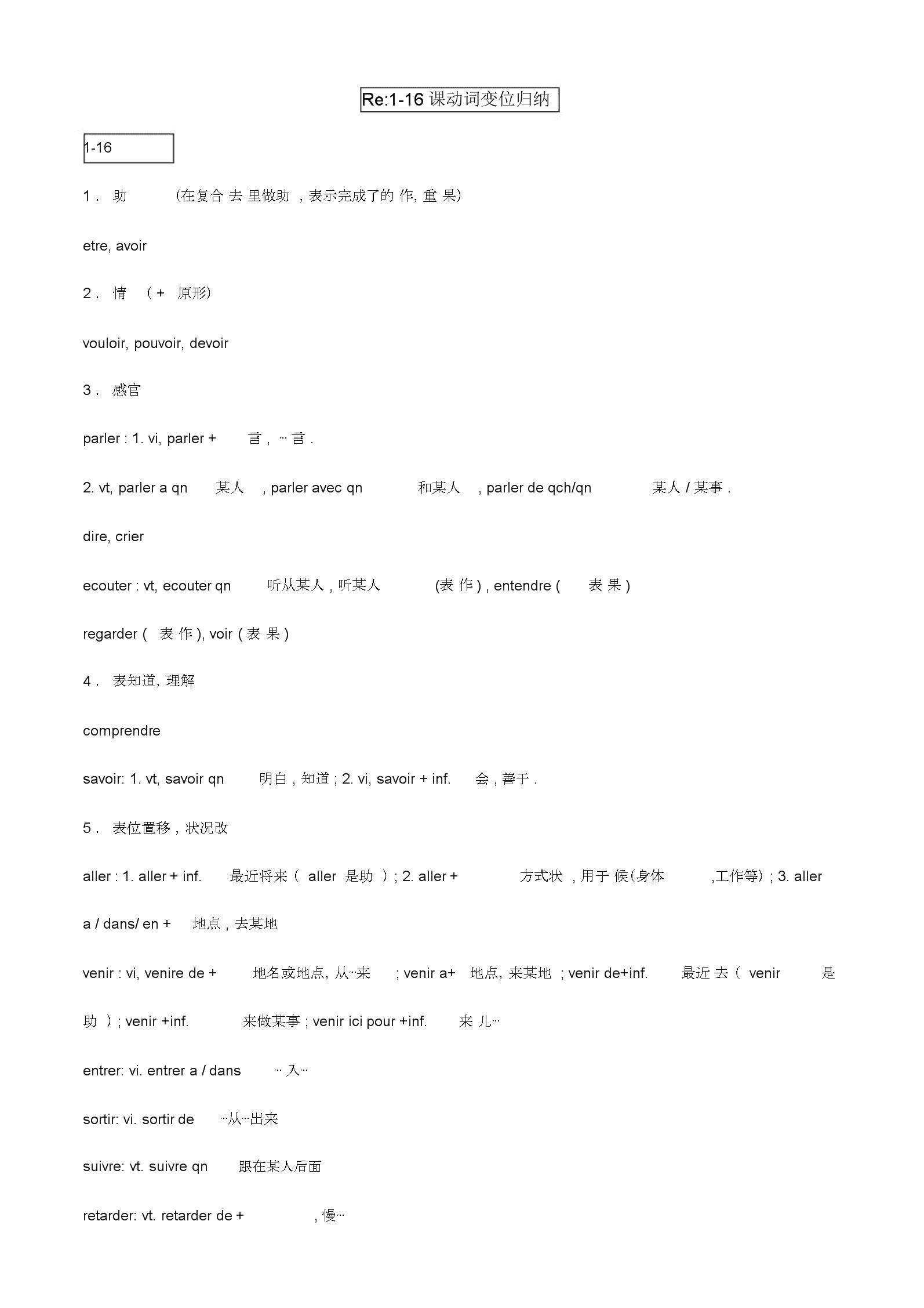 法语名词和动词总结.docx