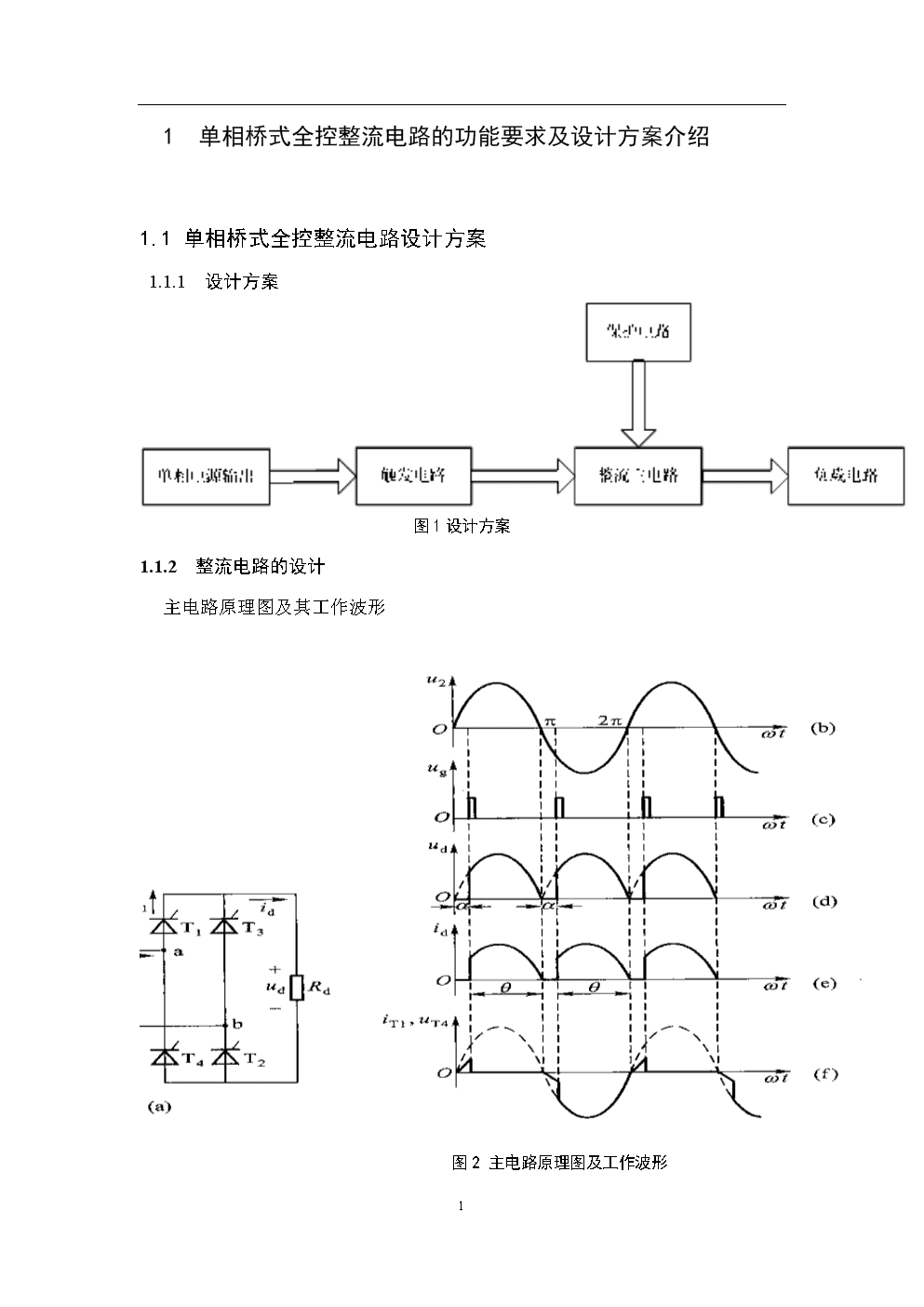 .单相全控桥式晶闸管整流电路设计(纯电阻负载).doc