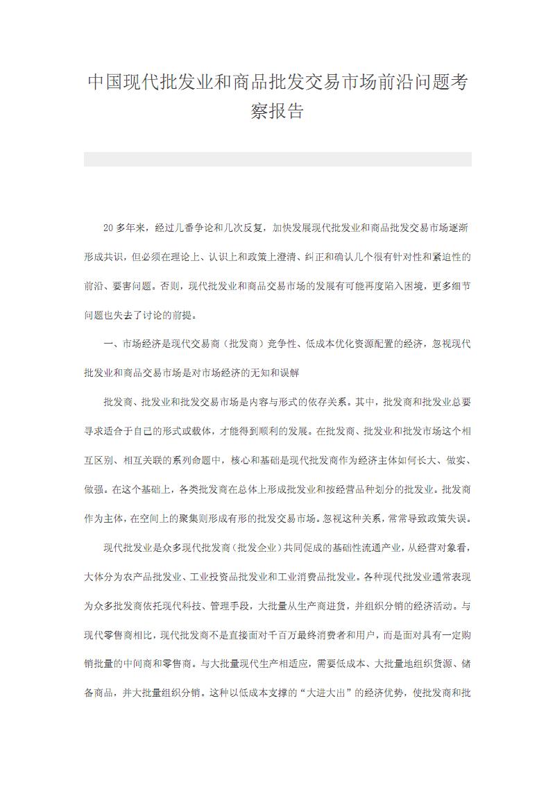 中国现代批发业和商品批发交易市场前沿问题考察报告.pdf