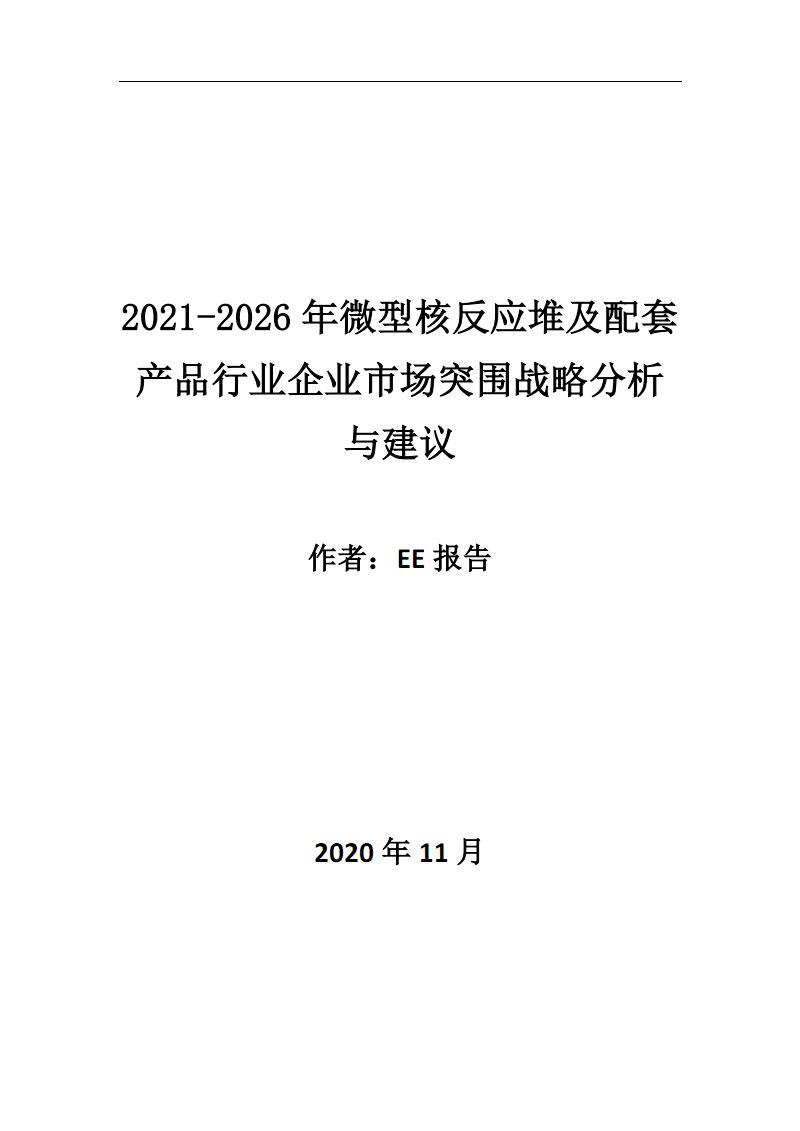 2021~2026年微型核反应堆及配套产品行业企业市场突围战略分析与建议.pdf
