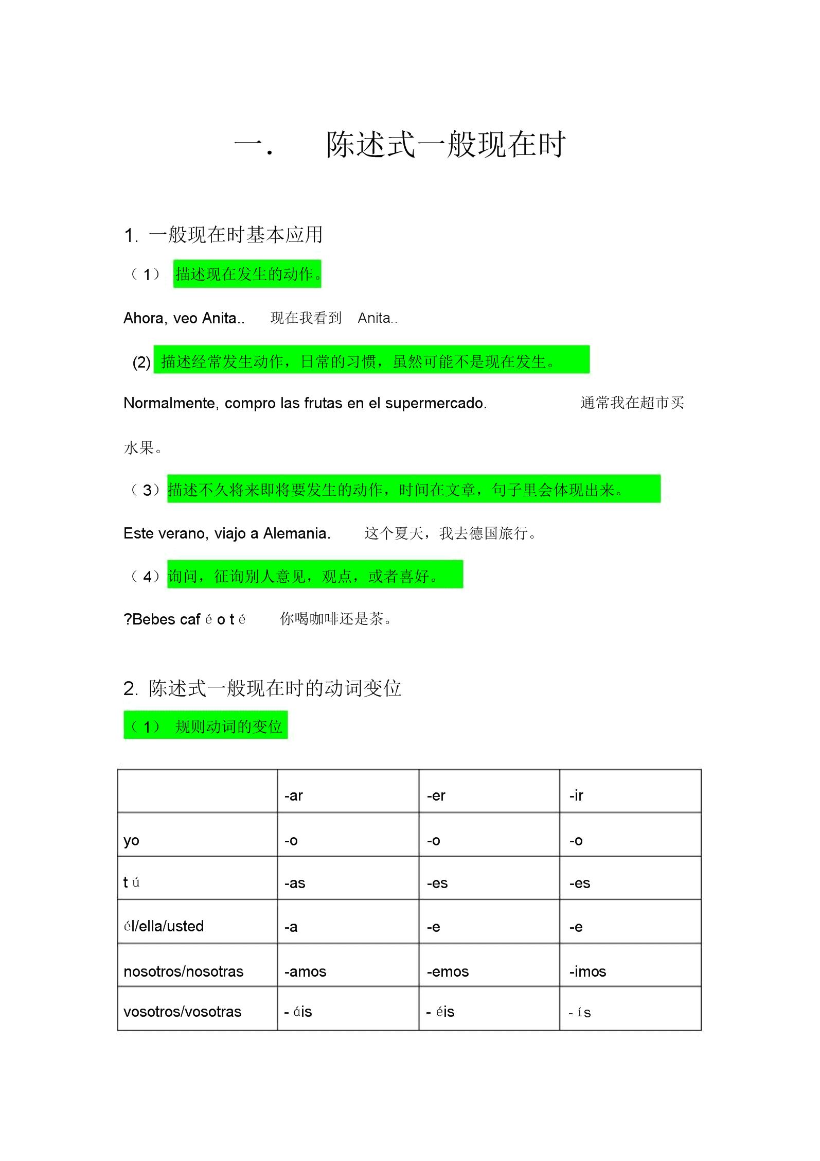 西班牙语时态总结计划.docx