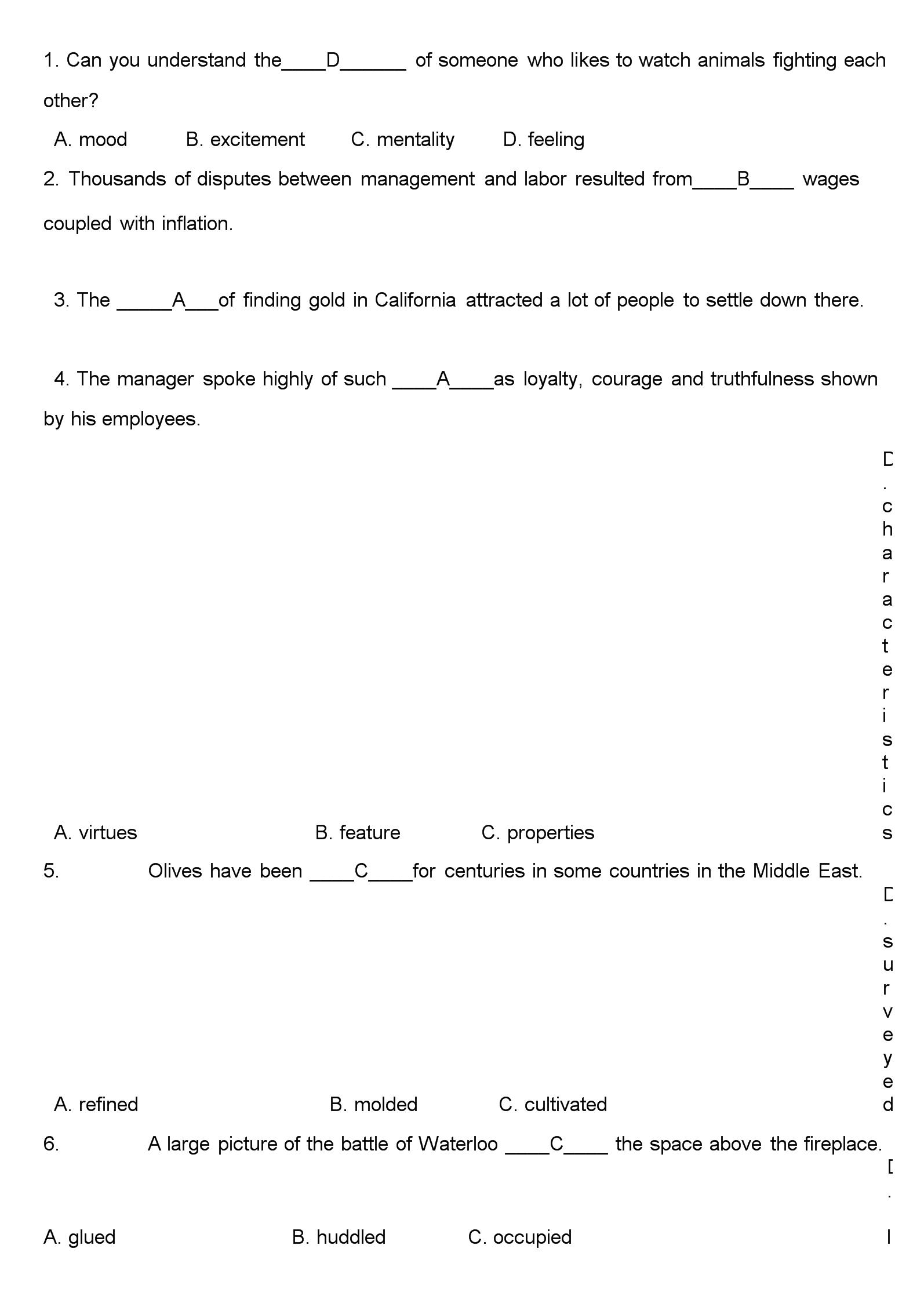 英语四级单选选择.docx