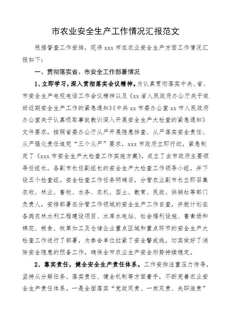 市农业安全生产工作情况汇报范文.pdf