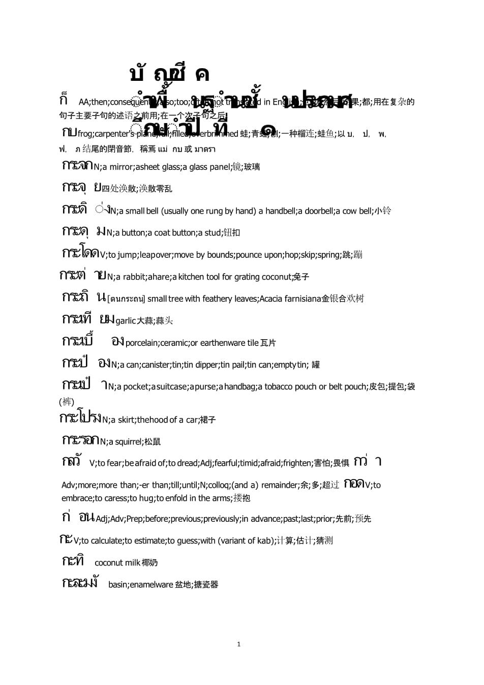 泰语常用3000个单词中英翻译.pptx