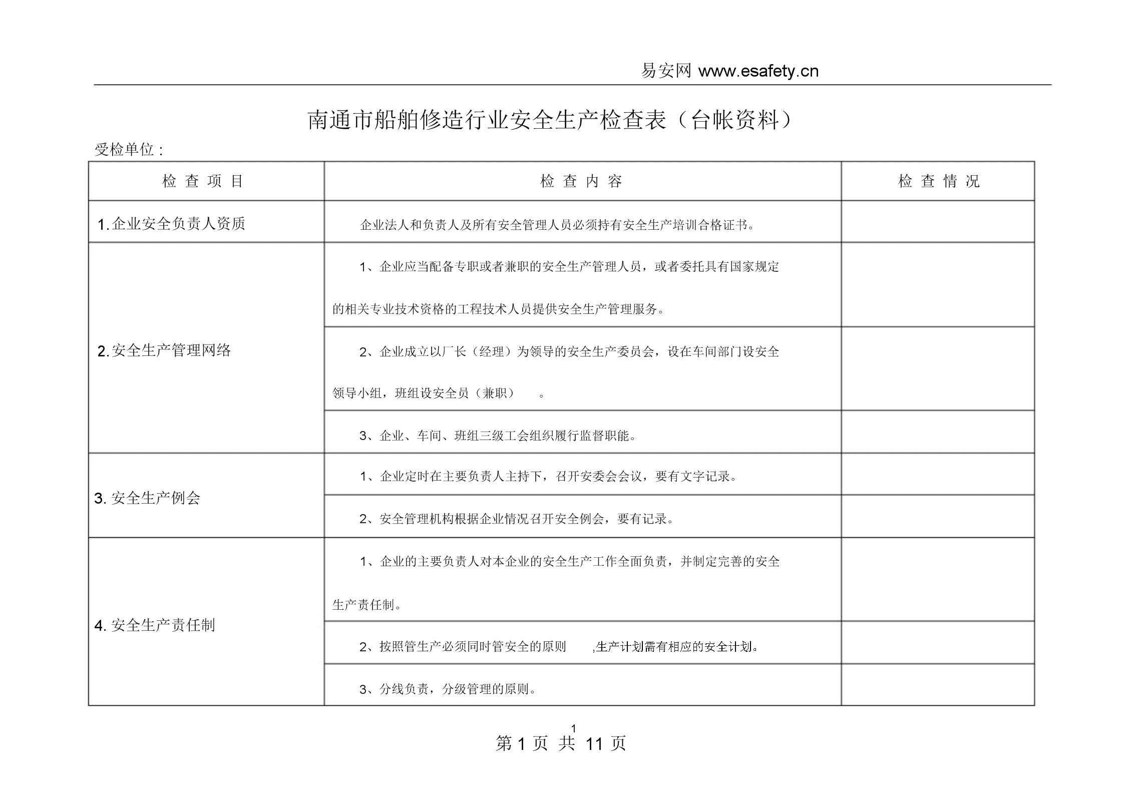船舶修造行业安全生产检查表.docx