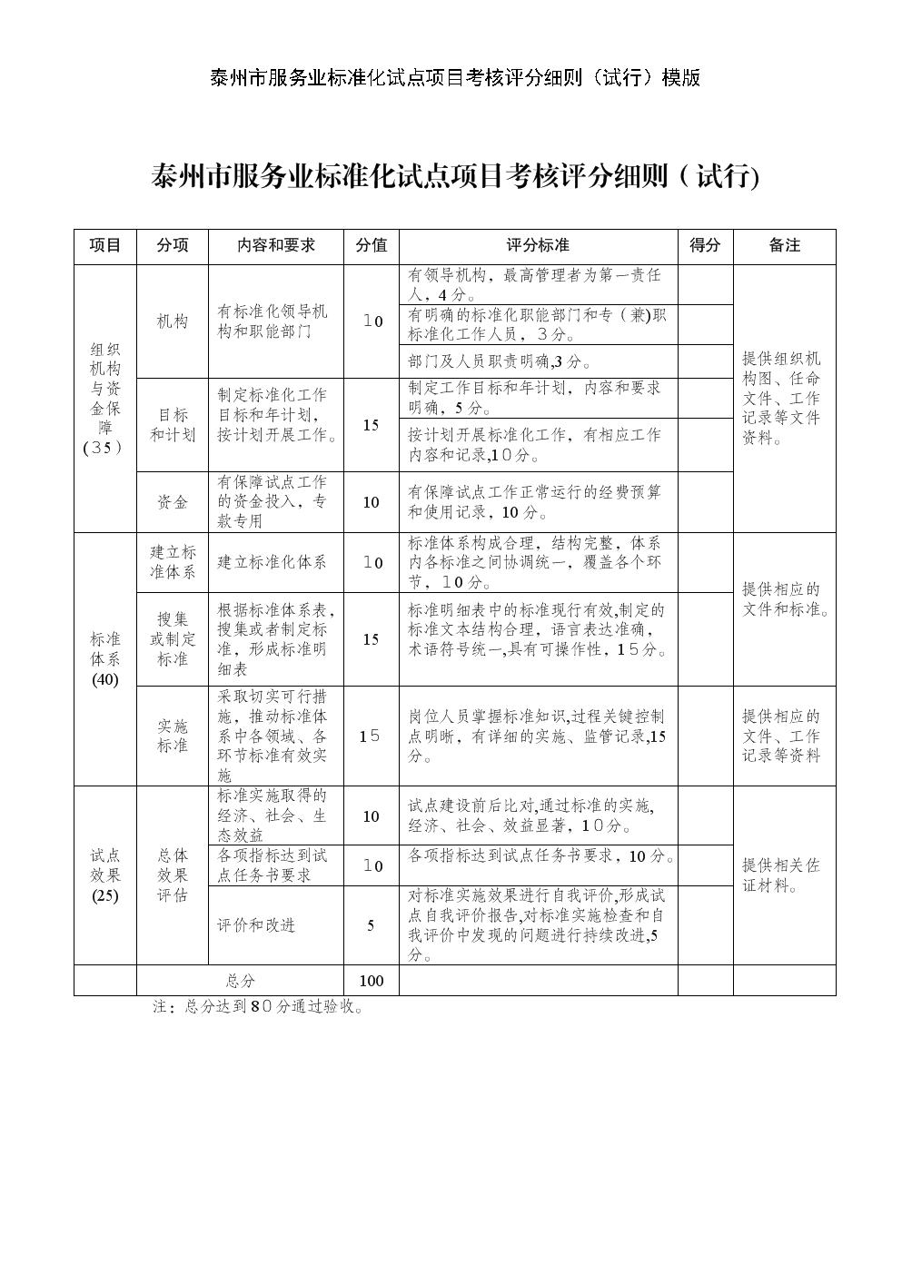泰州市服务业标准化试点项目考核评分细则(试行)模版.doc