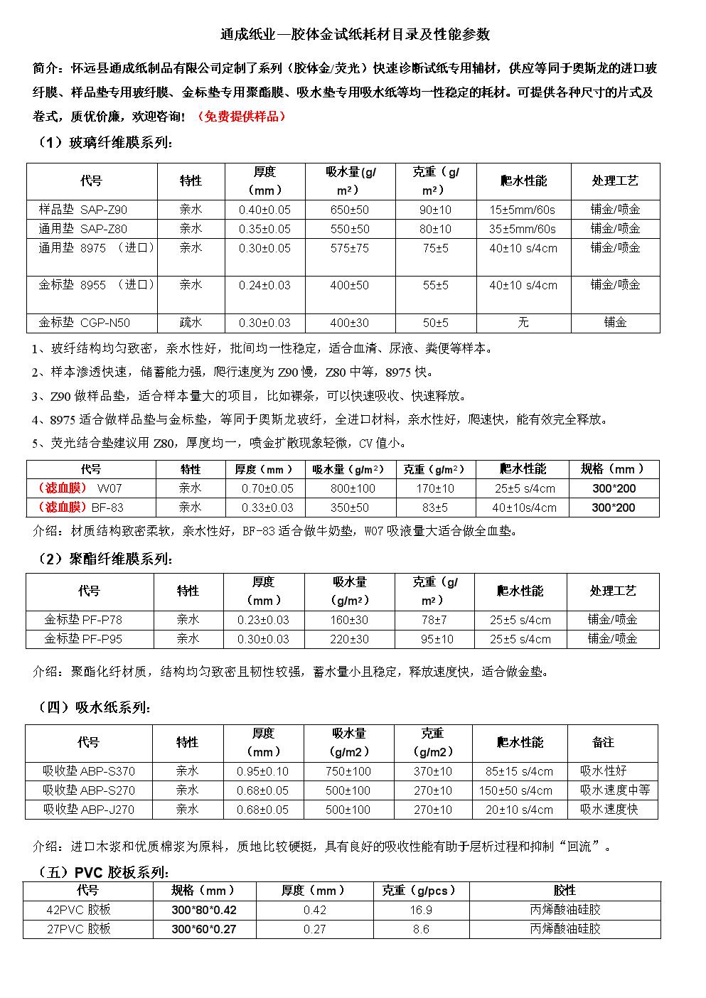 通成纸业—胶体金试纸耗材目录.doc