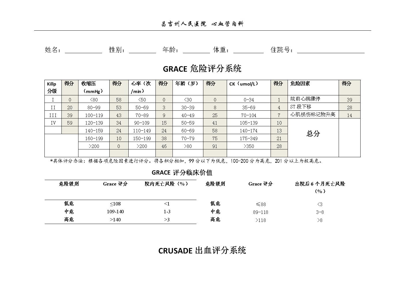 grace评分系统和crusade出血评分系统.doc