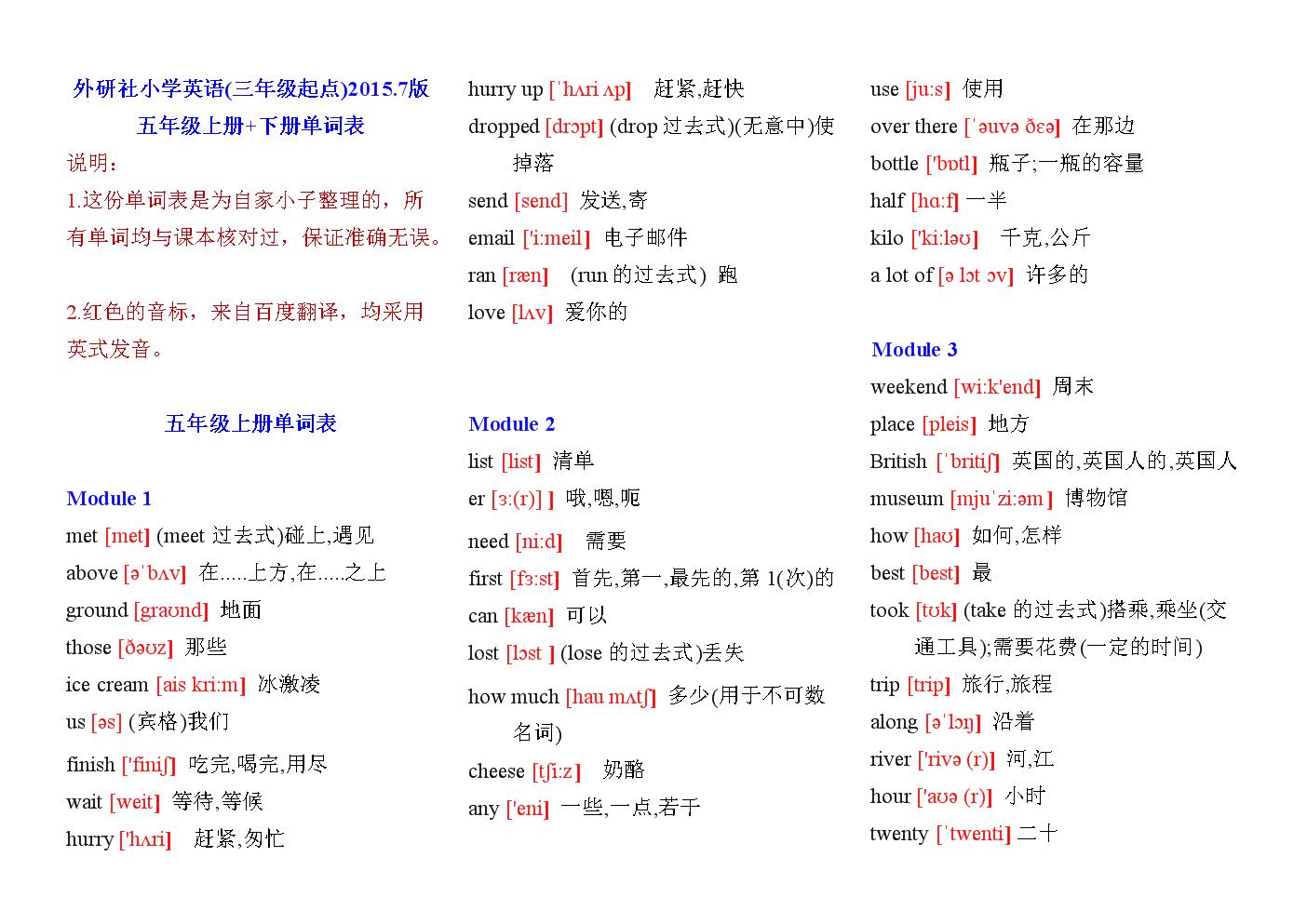 五年级上册英语单词表第6单元_五年级上册英语一单元单词_五年级上册英语一二单元单词